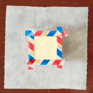 抹茶枡ティラミス調理途中マスキングテープ