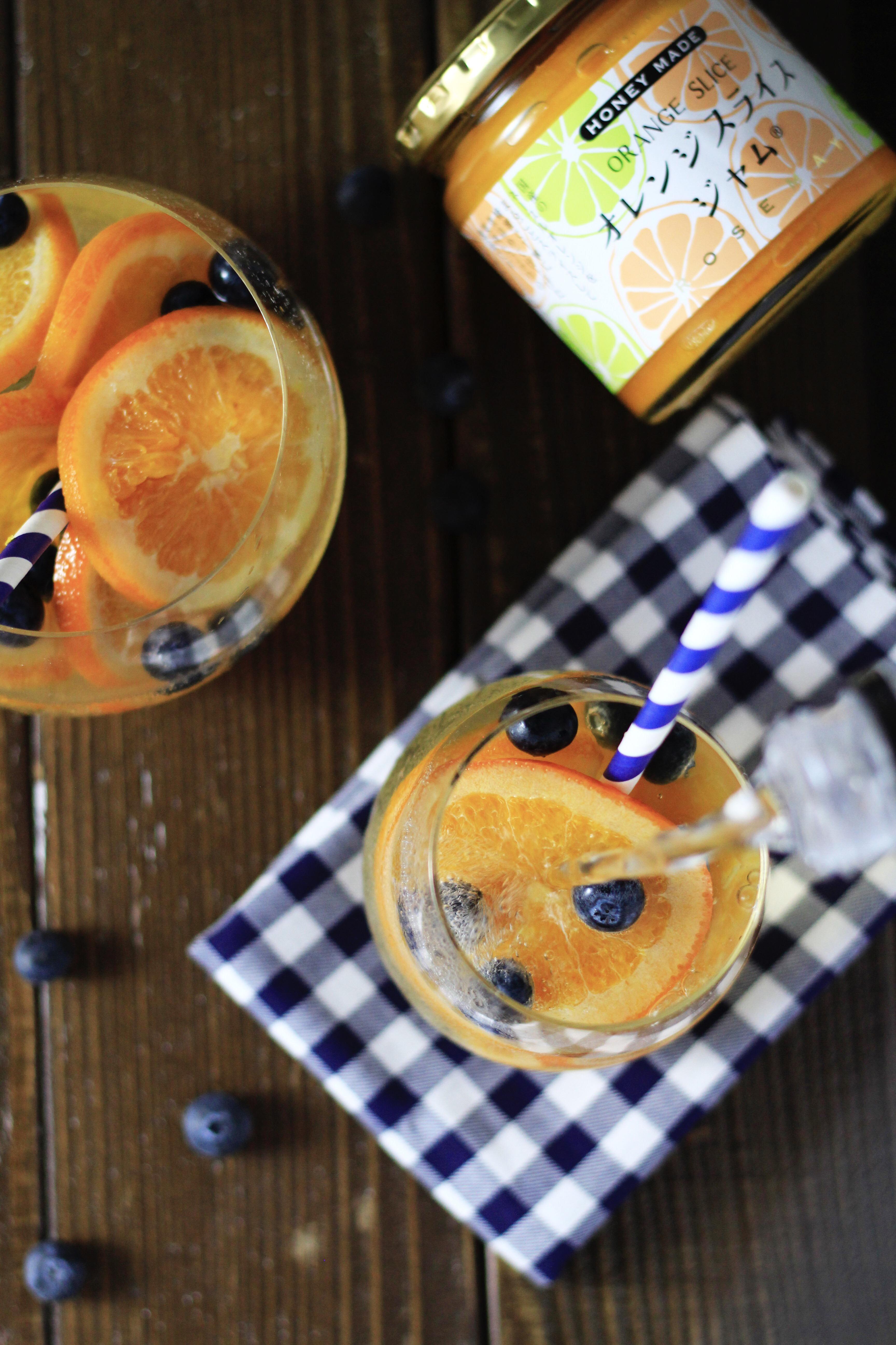 オレンジスライスジャムでフルーツソーダ写真③
