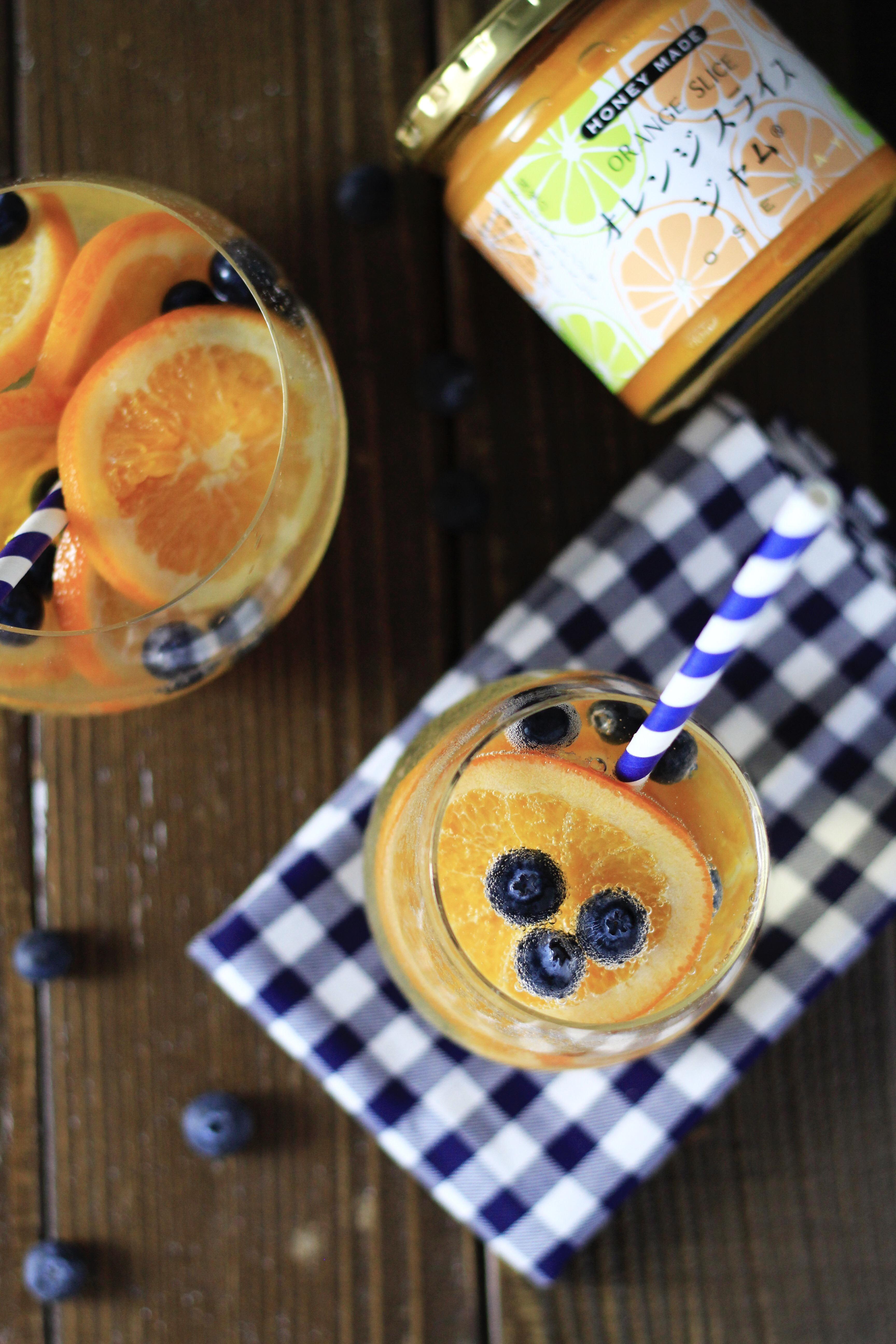 オレンジスライスジャムでフルーツソーダ写真④